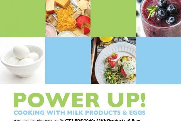 Cover of student resource with various images of foods containing eggs and milk products.