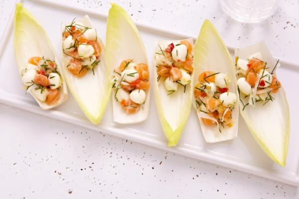 endive spears with bocconcini salmon