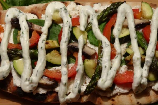 grilled veggie flatbread with pesto whipped cream