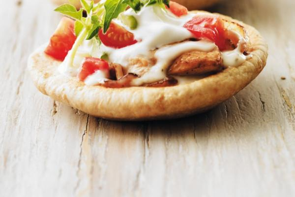 open faced chicken souvlaki pitas