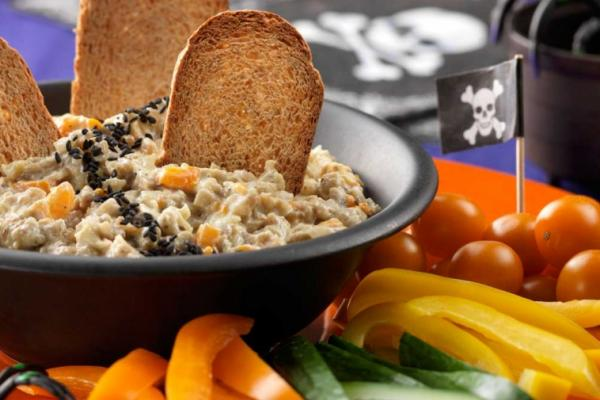 roasted eggplant and pepper dip with black bugs