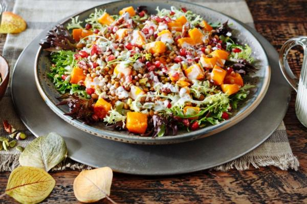 roasted winter squash lentil and greens salad