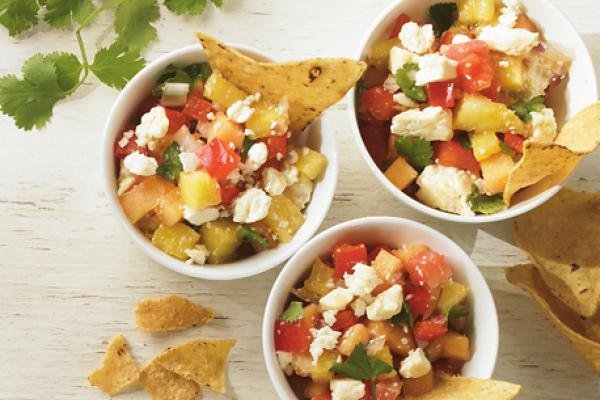 sweet and salty salsa with feta