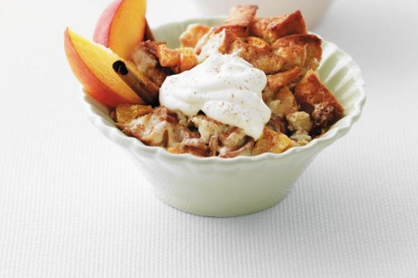 yummy peach bread pudding
