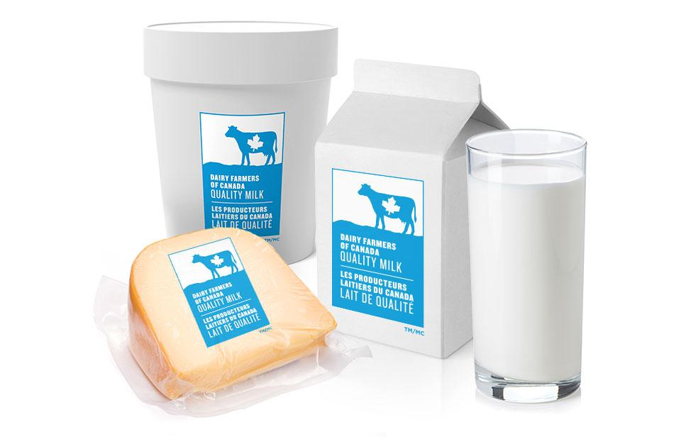 Various dairy products and the Canadian milk logo