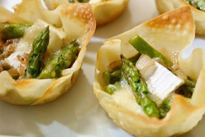 asparagus and brie wonton tartlets