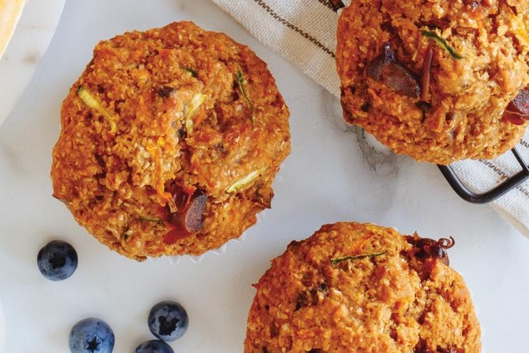 power packed carrot zucchini date muffins