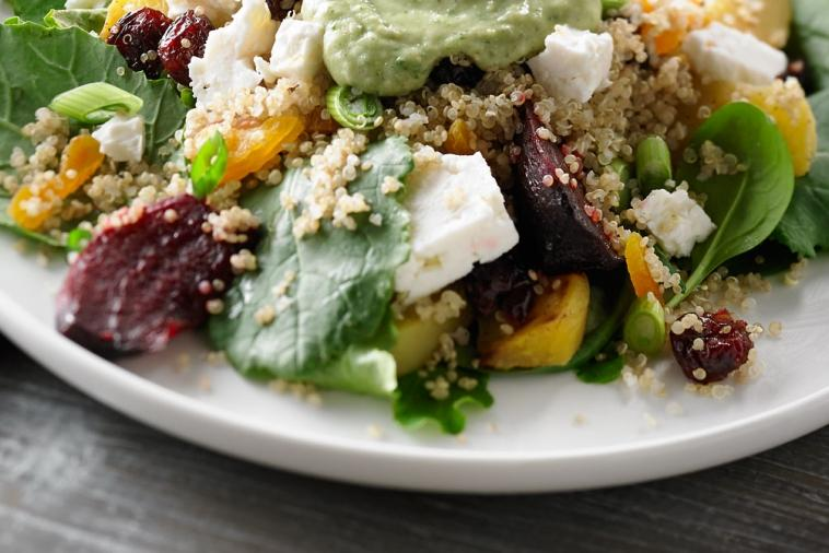 quinoa roasted beet and dried fruit salad