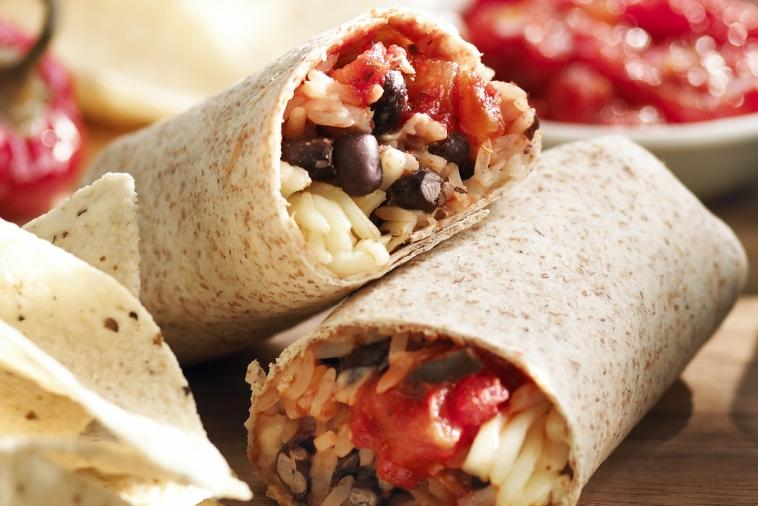 salsa rice and bean burritos